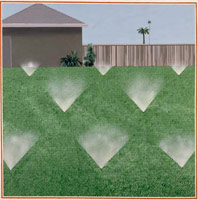 david hockney painting, acrylic on canvas, Lawn Sprinkler