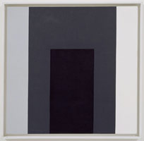 Frederick Hammersley<BR>Equal odds, #5 1977<BR> oil on linen<BR>panel: 26 x 26 in. (66 x 66 cm)<BR>framed: 27 3/4 x 27 7/8 in. (70.5 x 70.8 cm)<BR>