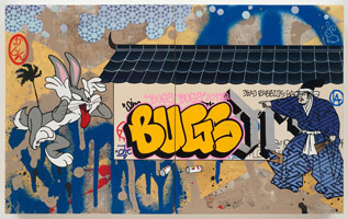 Gajin Fujita<BR>Year of the Rabbit (Bugs Bunny), 2011<BR>spray paint, paint marker, gold leaf on wood panel<BR>