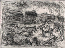 From Goya: Bullfight in a village <br>
