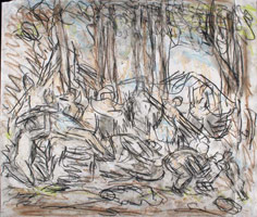 From Poussin: The Triumph of Pan, 1990s <br>       Coloured chalks on paper<br>       51.2 x 59.4 cm<br>       Private collection