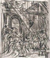 From Veronese: The Adoration of the Kings<br>       Black chalk on paper <br>       67 x 58.5 cm