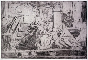 The Holy Family on the Step, 1998<BR> unique proof plate<BR> 16 x 23 1/2 in. (40.6 x 59.7 cm)<BR> paper: 22 1/2 x 30 in. (57.2 x 76.2 cm)