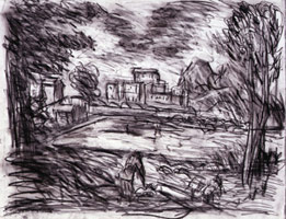 Landscape With A Calm No. 3, 1999<BR> compressed charcoal &amp; pastel on paper<BR> 22 x 29 5/8 in (55.9 x 75.2 cm)