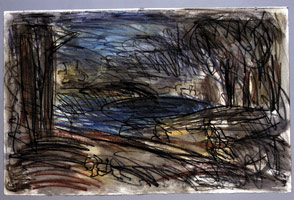 Landscape with a Man Killed by a Snake, 1997<BR> compressed charcoal pastel &amp; watercolor on paper<BR> Paper: 19 1/2 x 30 in (49.5 x 76.2 cm)<BR> Framed: 29 x 37 in (73.7 x 94 cm)