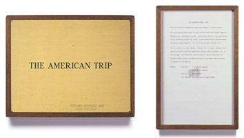 Edward Kienholz<br> The American Trip, 1966<br> concept tableau<br> plaque: 9 1/4 x 11 3/4 in (23.5 x 29.8 cm)<br> framed concept: 13 3/8 x 9 1/4 in (33.7 x 23.5 cm)