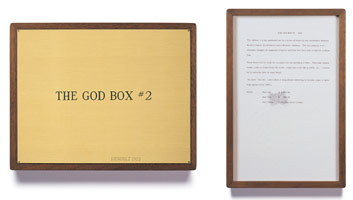 Edward Kienholz<br> The God Box #2, 1963<br> concept tableau<br> plaque: 9 1/4 x 11 3/4 in (23.5 x 29.8 cm)<br> framed concept: 13 3/8 x 9 1/4 in (33.7 x 23.5 cm)