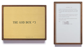 Edward Kienholz<br> The God Box #3, 1963<br> concept tableau<br> plaque: 9 1/4 x 11 3/4 in (23.5 x 29.8 cm)<br> framed concept: 13 3/8 x 9 1/4 in (33.7 x 23.5 cm)