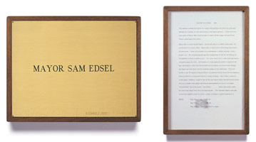 Edward Kienholz<br> Mayor Sam Edsel, 1965<br> concept tableau<br> plaque: 9 1/4 x 11 3/4 in (23.5 x 29.8 cm)<br> framed concept: 13 3/8 x 9 1/4 in (33.7 x 23.5 cm)