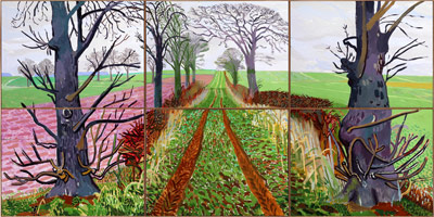 David Hockney<br>A Closer Winter Tunnel, February - March, 2006<BR>Oil on 6 canvases<BR>71 1/2 x 143 3/4 in (182 x 365 cm)<BR>Collection Art Gallery of New South Wales