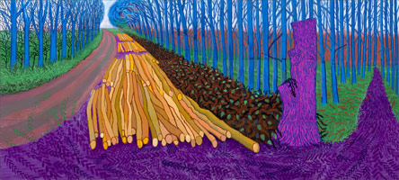 David Hockney<br>Winter Timber, 2009<BR>Oil on 15 canvases<BR>