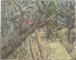 Cherry Tree, Autumn, 2002 <br>       oil on board <br>       46 x 58 in. (117 x 147.5 cm)<br>       Private collection