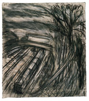 Leaving the Station No. 1, 1990<BR> charcoal and pastel on paper<BR> 33 1/2 x 30 1/2 in (85.1 x 77.5 cm)