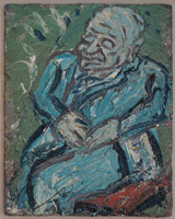 Leon Kossoff<BR> Father Resting, 1978<BR> oil on board<BR> 48 x 38 1/2 in (121.9 x 97.8 cm)