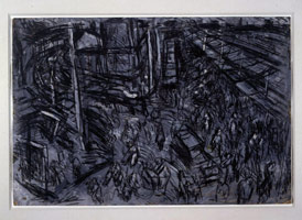 Leon Kossoff<BR> View of Ridley Road Street Market, 1975<BR> charcoal on paper<BR> framed: 26 3/4 x 39 3/4 in (67.9 x 101 cm)<BR> Private collection