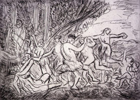 Bacchanal before a Herm, 1998<BR>etching <BR>Plate: 16 1/8 x 22 3/8 in (41 x 56.8 cm)<BR>Sheet: 22 1/2 x 29 7/8 in (57.2 x 75.9 cm)