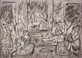 The Judgement of Solomon #1, 1998<BR>etching<BR>Plate: 8 1/2 x 11 3/4 in (21.6 x 29.8 cm)<BR>Paper: 22 9/16 x 29 7/8 in (57.3 x 75.9 cm)