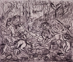 The Triumph of Pan from a Poussin drawing (II), 1998<BR>etching<BR>Plate: 13 x 15 7/16 in (33 x 39.2 cm)<BR>Paper: 22 3/8 x 29 7/8 in (56.8 x 75.9 cm)