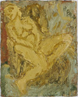 Leon Kossoff<br> Nude, 2000<br>       oil on board<br>       24 x 30 3/4 in. (61 x 78 cm)<br>       Private collection