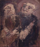 Leon Kossoff<br> Two Seated Figures, 1962<br>       oil on board<br>       72 x 60 in. (183 x 152.4 cm)<br>       Private collection