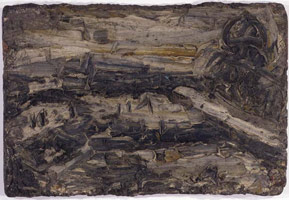 Leon Kossoff<br> Building Site Near Saint Paul's No. 2, 1956<br>       oil on board<br>       20.5 x 31 in. (52 x 78.75 cm)<br>       Private collection