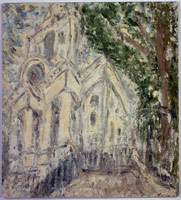 Leon Kossoff<br> Christchurch, 2000<br>       oil on board<br>       64 x 48 in. (162.5 x 122 cm)<br>       Private collection