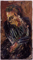 Leon Kossoff<br> Portrait of Philip II, 1962<br>       oil on board<br>       56.5 x 30.5 in. (143.5 x 77.6 cm)<br>       Private collection