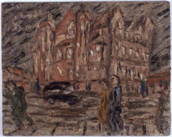 Leon Kossoff<br> Red Brick School Building, Winter, 1982<br>       oil on board<br>       48 x 60 in. (121.9 x 152.4 cm)<br>       Private collection