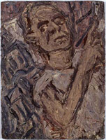Leon Kossoff<br> Self Portrait with Christchurch, 1986<br>       oil on board<br>       40.5 x 30.2 in. (102.9 x 76.8 cm)<br>       Private collection