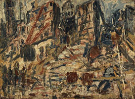 Leon Kossoff<br> YMCA Building Site No. 2, 1971<br>       oil on board<br>       44.5 x 60.6 in. (113 x 154 cm)<br>       Private collection