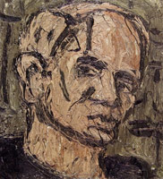 Self Portrait, 1982<BR> oil on board<BR> 23 1/2 x 21 in. (59.69 x 53.34 cm)<BR> Private collection