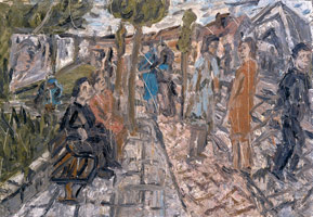 A Street in Willesden, Summer, 1983<BR> oil on board<BR> 54 x 78 in. (137.16 x 198.12 cm)<BR> Private collection