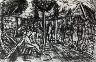 A Street in Willesden, 1982<BR> charcoal on paper<BR> 40 3/4 x 26 1/2 in. (103.5 x 67.31 cm)<BR>  Private collection