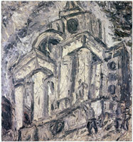 Leon Kossoff<BR> Christchurch, Spitalfields, Summer, 1987<BR> oil on board<BR> 54 x 50 in. (137.2 x 127 cm)