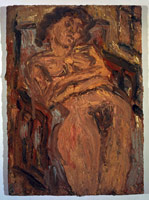 Leon Kossoff<BR> Cathy No. 1, Summer, 1994<BR> oil on board<BR> 42 1/2 x 30 1/2 in (108 x 77.5 cm) (framed)<BR> Private collection