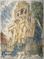 Leon Kossoff<BR> Christchurch, Summer Afternoon, 1994<BR> oil on board<BR> 78 x 57 7/8 in (82 1/8 x 62 3/8 in) (fr)<BR> Private collection