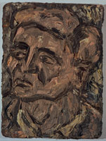 Leon Kossoff<BR> Head of John Lessore, 1990<BR> oil on board<BR> 31 1/2 x 23 3/4 in (80 x 59.5 cm)<BR> Private collection