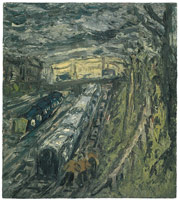 Leon Kossoff<BR> From Willesden Green, Autumn, 1991<BR> oil on board<BR> 54 1/8 x 48 1/4 in (137.5 x 122.6 cm)<BR> 59 x 53 in (149.9 x 134.6 cm) (framed)