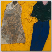 Tony Berlant<BR>Barbara, 1963<BR>cloth, polyester resin, acrylic and enamel on plywood<BR>48 x 48 in (121.9 x 121.9 cm)