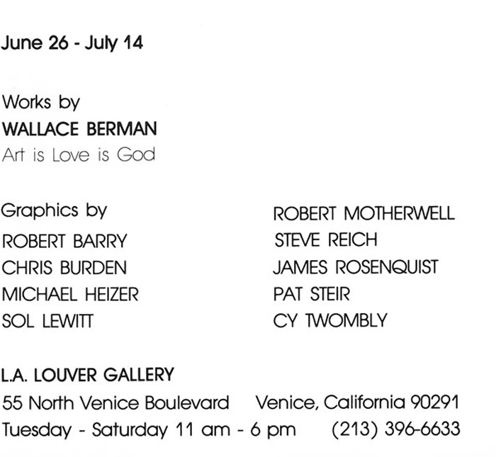 Work by Wallace Berman<BR>Art is Love is God
